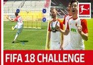 چالش شوت زنی بازیکنان آگزبورگ به سبک FIFA18