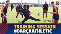 آخرین تمرینات بارسلونا قبل از دیدار با اتلتیک بیلبائو