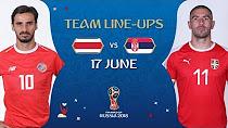 ترکیب دو تیم صربستان و کاستاریکا در بازی امروز