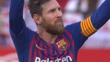 گل سوم بارسلونا به سویا (هتریک مسی)