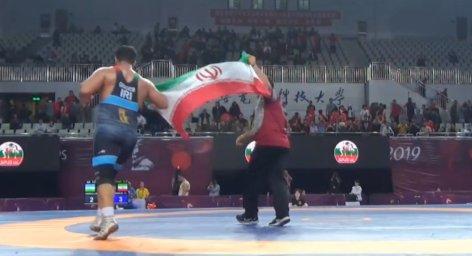 پیروزی امیر قاسمی در فینال وزن 130 کیلوگرم