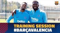 تمرین تیم بارسلونا برای تقابل با والنسیا