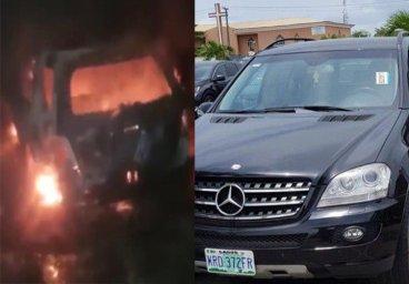 آتش زدن ماشین گادوین منشا در نیجریه