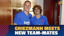 اولین دیدار گریزمان با هم تیمی های جدیدش در بارسلونا