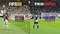 مقایسه ضربه کاشته در PES2020 و FIFA20