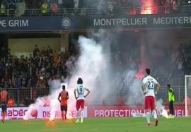 پرتاب مواد آتش زا به زمین بازی مون پلیه-پاریس سنت ژرمن