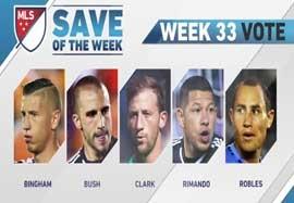 ۵ سیو برتر هفته ۳۳ MLS