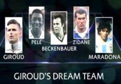 تیم پنج نفره ایده آل از نظر جیرود (با حضور مارادونا و پله)