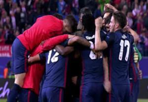 جشن صعود بازیکنان اتلتیکومادرید برابر بارسلونا