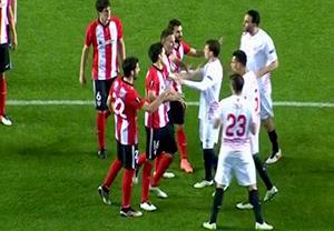 درگیری بازیکنان سویا- بیلبائو قبل از آخرین ضربه پنالتی