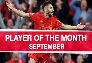 آدام لالانا بهترین بازیکن ماه سپتامبر لیورپول