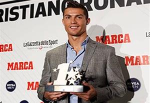 اهدای جایزه بهترین بازیکن لیگ قهرمانان اروپا به کریستیانو رونالدو