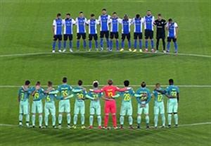 ادای احترام به چاپه کوئنزه در ابتدای بازی هرکولس - بارسلونا