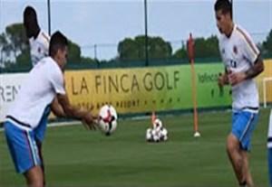 تمرین دو نفره فالکائو و خامس رودریگز در تیم ملی کلمبیا