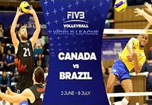 خلاصه والیبال کانادا 1-3 برزیل