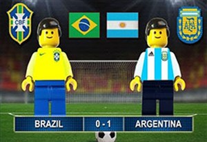 شبیه سازی بازی دوستانه برزیل - آرژانتین با لگو
