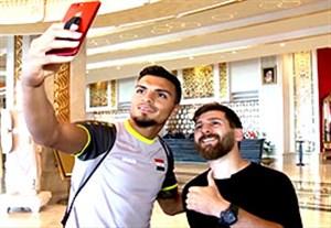 عکس سلفی بازیکنان تیم ملی عراق با مسی ایران