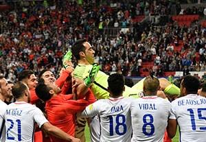 جشن صعود تیم شیلی به فینال جام کنفدراسیون ها