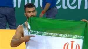 کسب مدال طلا مهدی ابراهیمی در کشتی فرنگی وزن 80 کیلوگرم