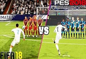 مقایسه ضربات ایستگاهی در PES 18 و FIFA 18
