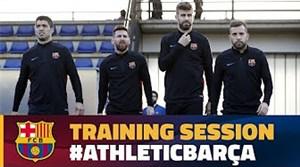 آخرین تمرین بارسلونا قبل از حرکت به سمت بیلبائو
