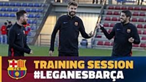 تمرین بازیکنان بارسلونا پیش از سفر به لگانس