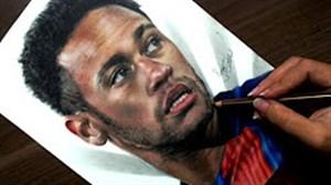 طراحی هنرمندانه چهره نیمار با پیراهن بارسلونا