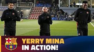 اولین حضور یری مینا در تمرینات بارسلونا