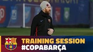 آخرین تمرین بارسلونا پیش از بازی والنسیا