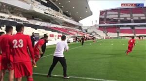 گرم کردن تراکتوریها قبل از بازی با الجزیره امارات
