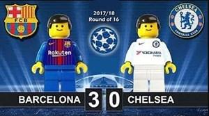 شبیه سازی بازی بارسلونا - چلسی با لگو