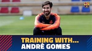 تمرین بارسلونا با حضور آندره گومز (03-01-97)