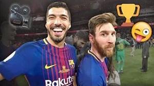 شادی بازیکنان بارسلونا پس از غلبه بر سویا از نگاه دوربین باشگاه