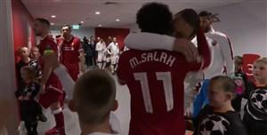 دیدار محمد صلاح با هم بازی های سابق قبل از بازی