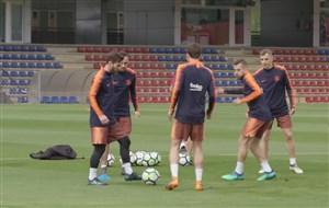 تمرین آماده سازی بازیکنان بارسلونا برای الکلاسیکو