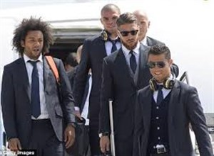 ورود بازیکنان رئال مادرید به شهر بارسلون