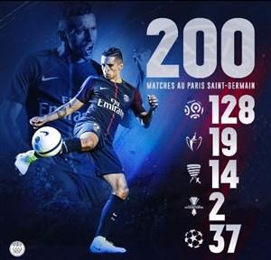 به بهانه رسیدن مارکینیوس به رکورد 200 بازی برای پاریس سن ژرمن