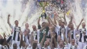 لحظه بالا بردن جام قهرمانی یوونتوس در سری آ توسط بوفون