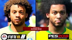 مقایسه چهره بازیکنان برزیل در بازی PES و FIFA