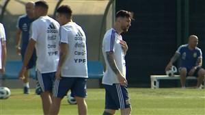 تمرینات آمادهسازی تیم ملی آرژانتین با حضور مسی