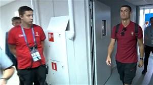 ورود دو تیم اسپانیا و پرتغال به ورزشگاه