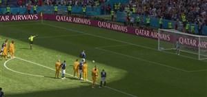 گل اول فرانسه به استرالیا ( گریزمان - پنالتی )