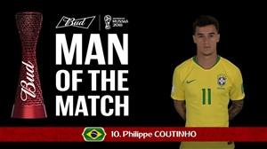کوتینیو برترین بازیکن دیدار برزیل - سوئیس
