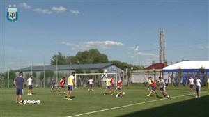 تمرین آرژانتین در غیاب مسی و آگوئرو