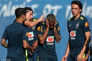 شوخیهای نیمار و بازیکنان برزیل در تمرینات