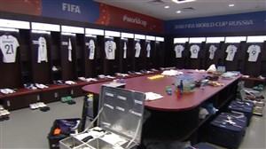 ورود دو تیم دانمارک و فرانسه به ورزشگاه