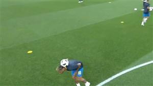 حرکات تکنیکی نیمار پیش از بازی با صربستان