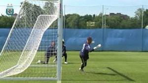 تمرین تیم ملی آرژانتین برای رویارویی با فرانسه