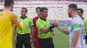 مراسم آغاز بازی آرژانتین - فرانسه با حضور علیرضا فغانی وتیم داوری