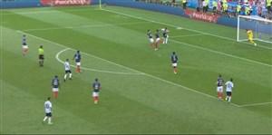 گل سوم آرژانتین به فرانسه (آگوئرو)